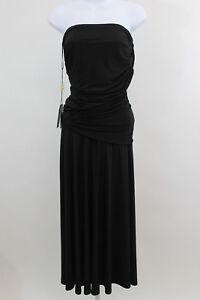 bretelle senza Tadashi arricciato Shoji drappeggiato nero S taglia piccolo vestito Nuovo qX6nCxpwX