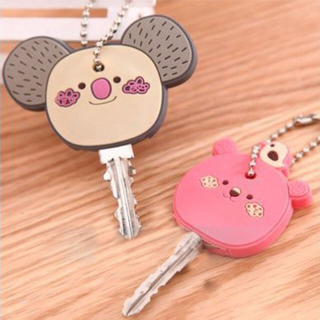 Lovely Korea Cute Animal Soft Key Top Head Cover Chain Cap Keyring Phone Strap