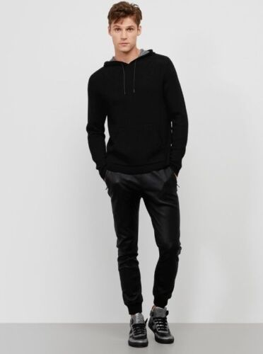 WAS $178 NWT BLACK HOODED LONG SLEEVE SWEATER KENNETH COLE BLACK LABEL 60/% OFF!