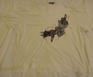 Chianti-White-T-Shirt-With-Floral-Design-Size-UK-L-Large