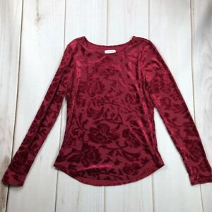 Sundance-Womens-Velvet-Blouse-Red-Floral-Long-Sleeve-Scoop-Neck-Stretch-XS