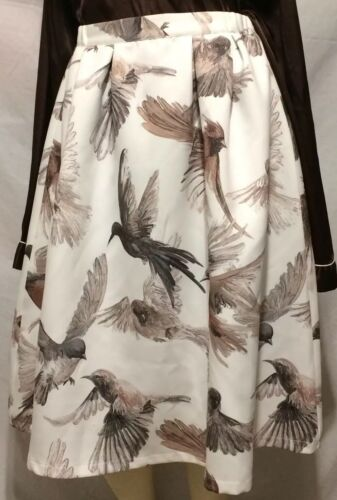A Line Skirt Brown Bird Print Ladies Cream Colored