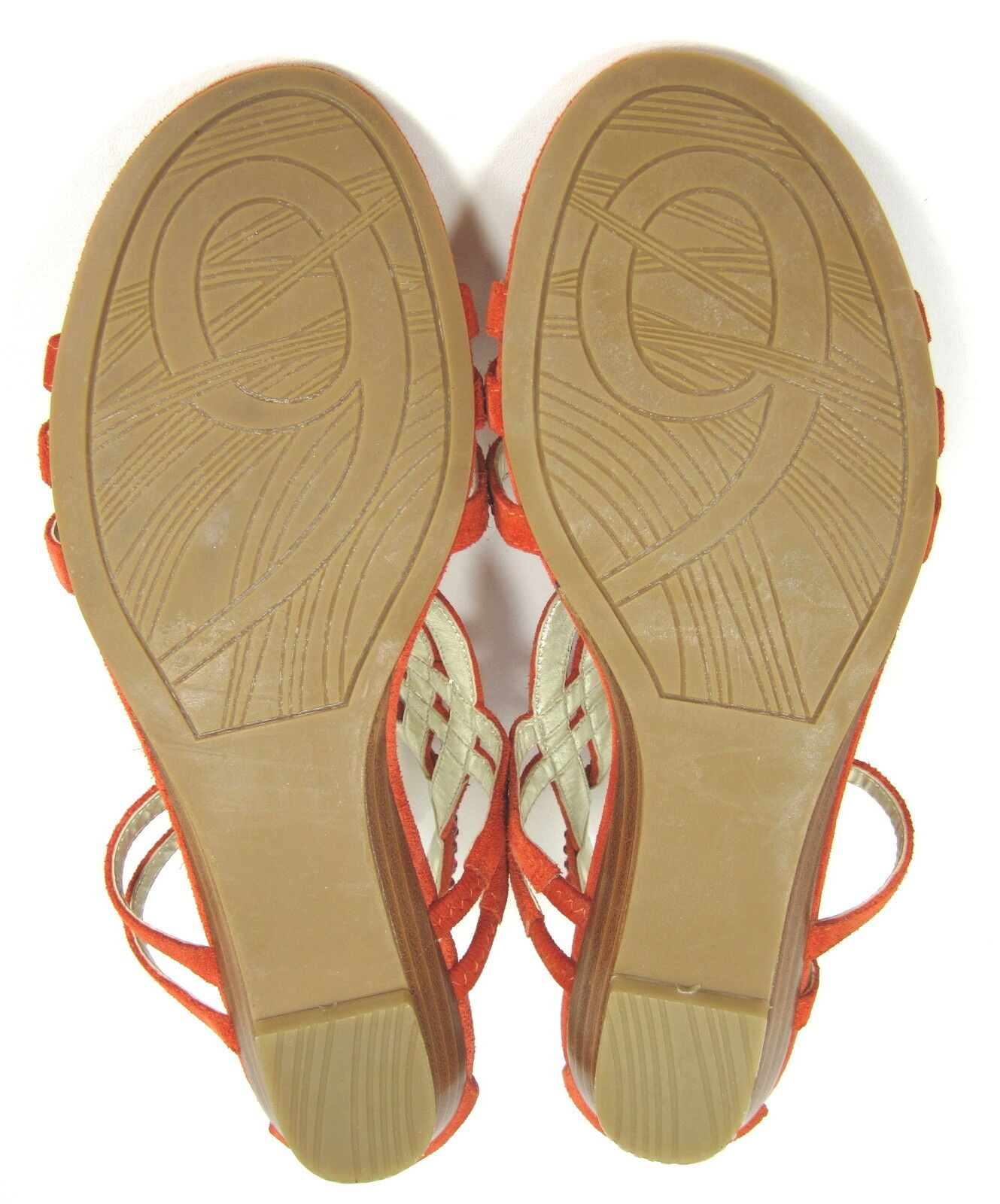 NINE WEST WOMEN'S MIMOSA MIMOSA WOMEN'S STRAPPY WEDGE SANDAL ORANGE SUEDE US SZ 7.5 MEDIUM (B)M d236fb