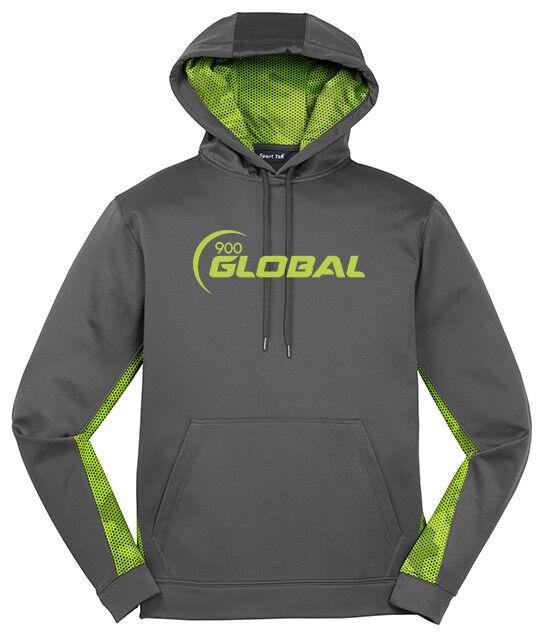 900 Global Men's Huge Respect CamoHex Fleece Hoodie Bowling Shirt Grey Lime