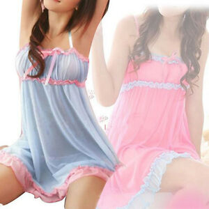 Fashion-Women-Lace-lingerie-Sleepwear-Nightwear-G-string-Babydoll-Nightdress
