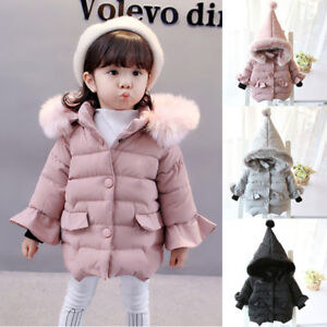 e97cb31d654e Kid Infant Girl Fall Winter Warm Hooded Coat Cloak Fur Thick Jacket ...