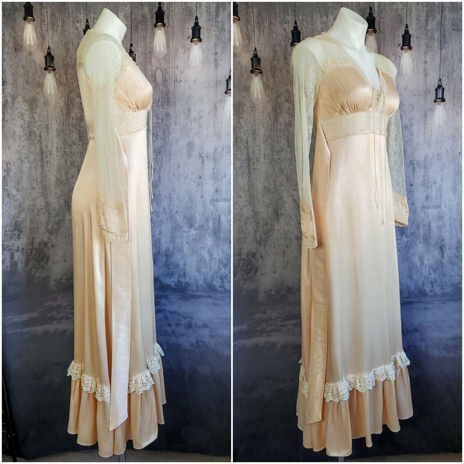 Gunne Sax satin beauty prairie 1970s dress - image 6