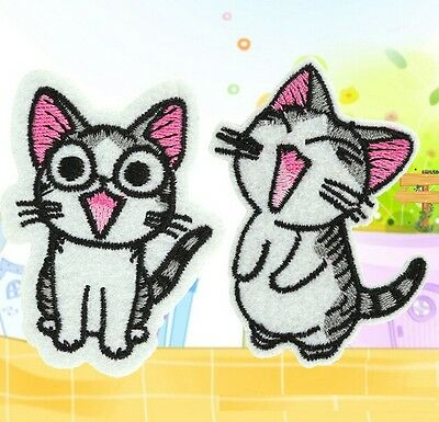 FD1340 Sweet Twin Cat DIY Embroidery Cloth Iron On Patch Sew Motif Applique 2PCs