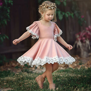 Details about Kids Baby Girls Dress Lace Floral Party Dress Short Sleeve  Solid Dresses Clothes