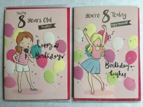 Girl Dancing // Girl Singing Birthday Card 8th ** 2 Designs ** Girl