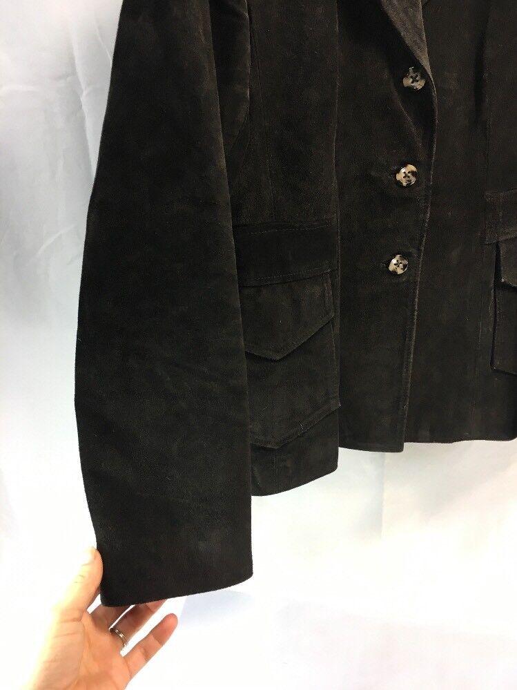 *A01-10 BANANA REPUBLIC LEATHER SUEDE BLAZER BROWN Womens MEDIUM Coat Jacket EUC