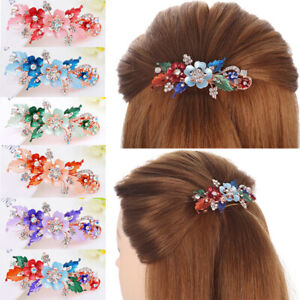 Bridal-Styling-Flower-Barrettes-Resin-Floral-Hair-Clip-Crystal-Hairpin-Headwear