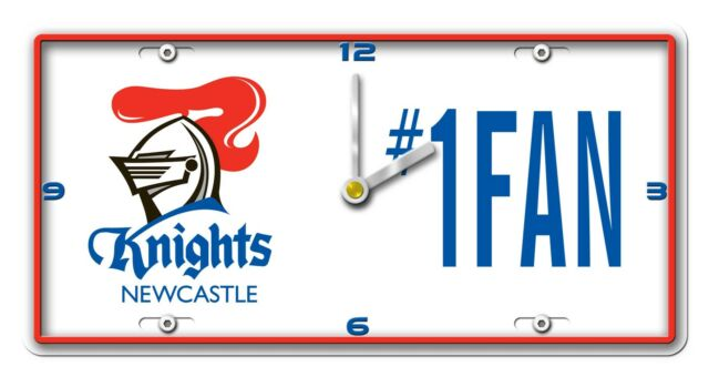 NRL NEWCASTLE KNIGHTS License Number 1 Fan Plate Metal Clock Man Cave Christmas