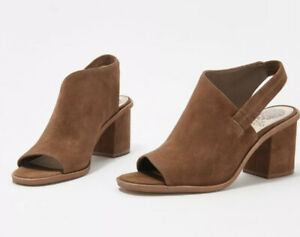 Vince-Camuto-Leather-Peep-Toe-Heeled-Sandals-Sz-7-Brown-Suede-Kaisly-Shoes-Heels
