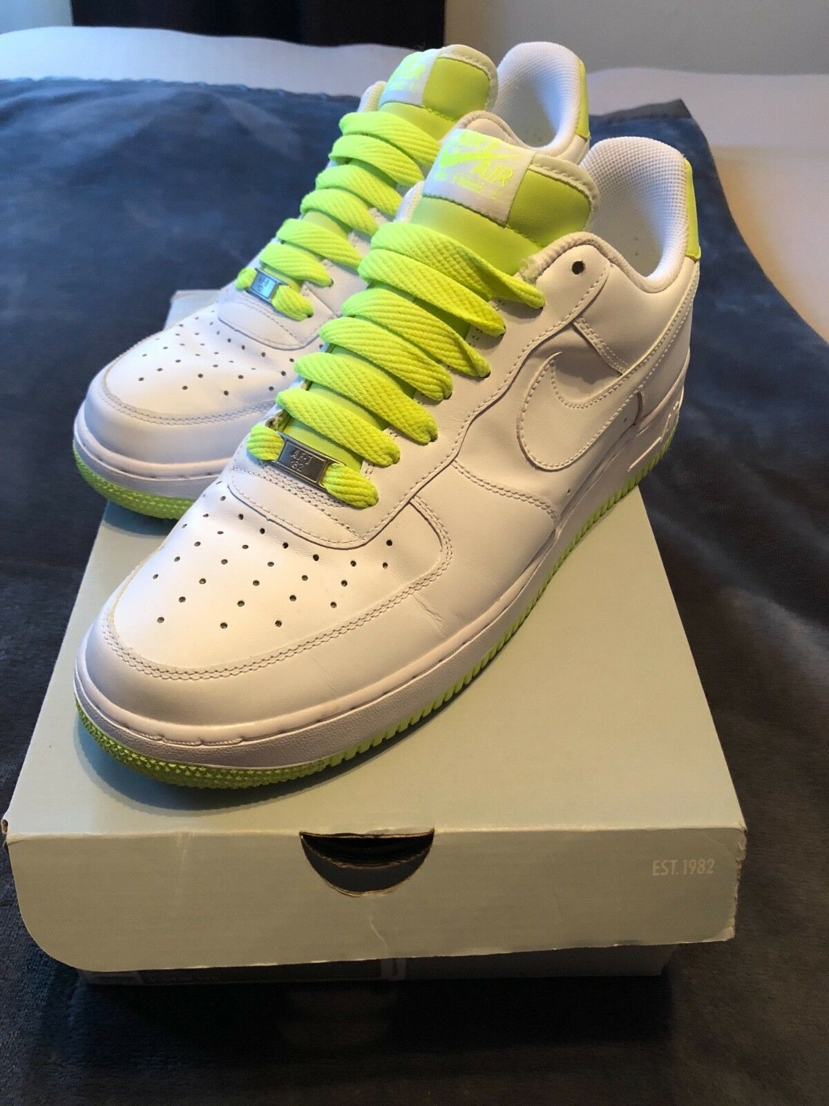 Nike air force one '07- white  volt. WORN ONCE  Original box  Make an offer