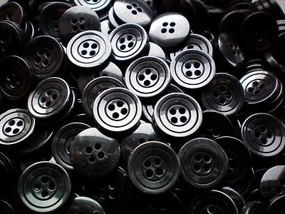 K317 Small 15mm 24L Black Polished 4 Hole Quality Shirt Craft Jacket Buttons