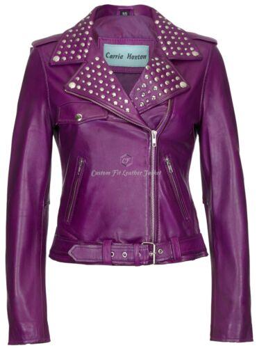 """Donna Giacca in pelle Viola con borchie /""""Rockstar FASHION/"""" 100/% vera Napa 4326"""