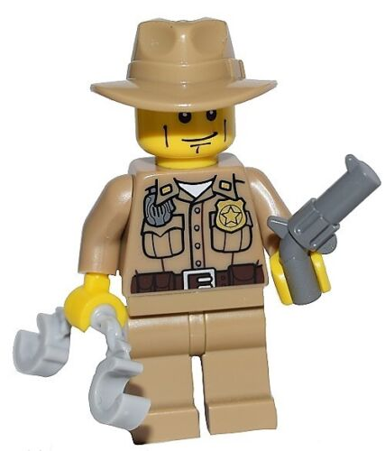 ☀️NEW LEGO Collectible Minifigure Minifig Police Sheriff Cop Handcuffs Gun Badge
