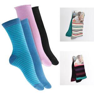 10er Pack Damen Socken Strümpfe Freizeitsocken Komfortbund gestreift Öko-Tex