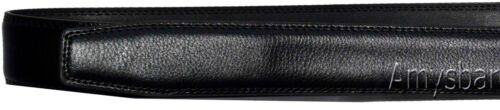 Men/'s belt Black Leather Dress Belt Auto Lock Buckle Waist length Up to 50 inch