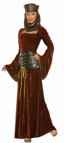 Medieval Lady Brown Velvet Adult Costume Dress Corset Belt Bell Sleeves