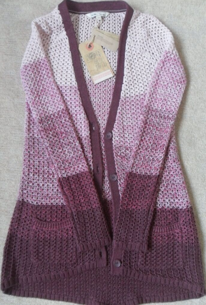 EX FAT FACE PINK FINE TWISTED CROCHET COTTON BLEND LONGLINE DIPPED CARDIGAN 8 12