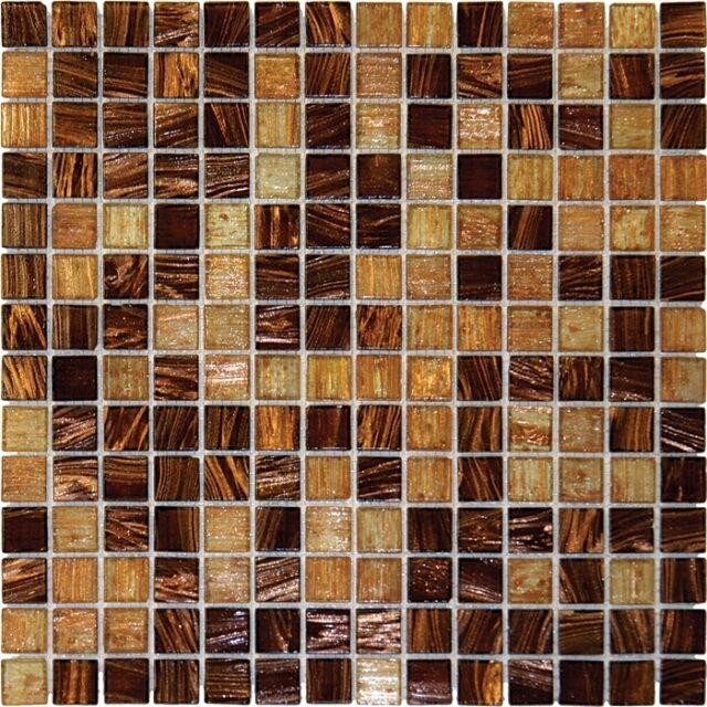 Brown Iridescent Gl Mosaic Tile Backsplash Kitchen Wall Bathroom Shower 1 Sf