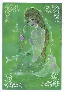 MERMAID BIRTHSTONE MAY GREEN EMERALD OUTSIDER ART HAND SIGNED BY ARTIST PRINT