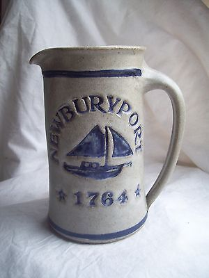 "Unknown Maker Search For Flights Stoneware Pitcher~tankard~vase~cobalt Blue~sailboat~newburyport~6.5 ""~pottery Agreeable To Taste"