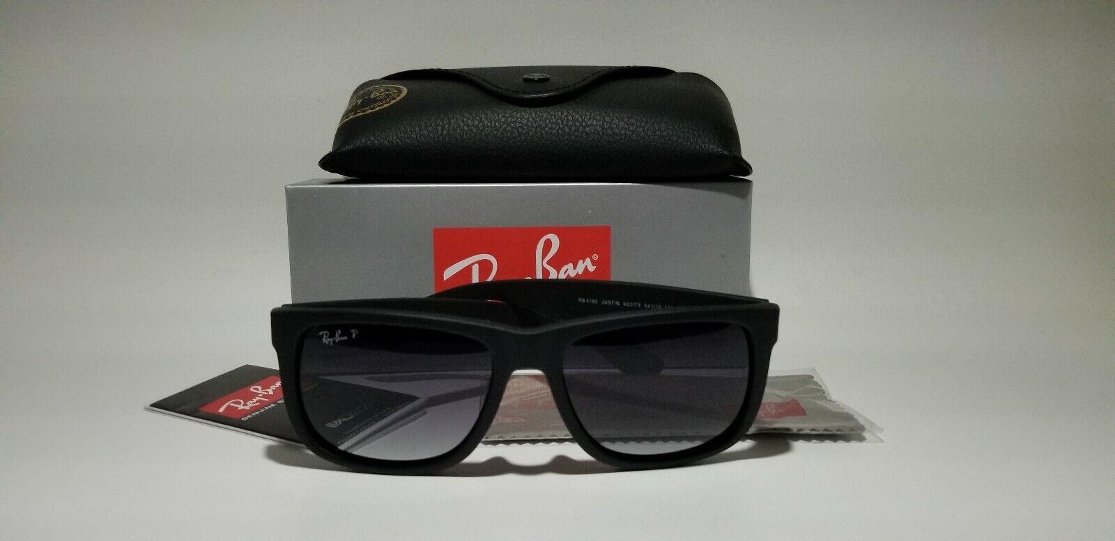 New Ray-Ban Justin Wayfarer POLARiZED RB4165 622/T3 Black/Grey Gradient 54mm