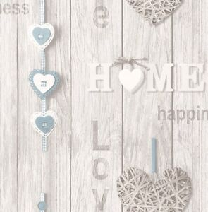 Image Is Loading LOVE YOUR HOME BLUE WHITE WOOD EFFECT WALLPAPER