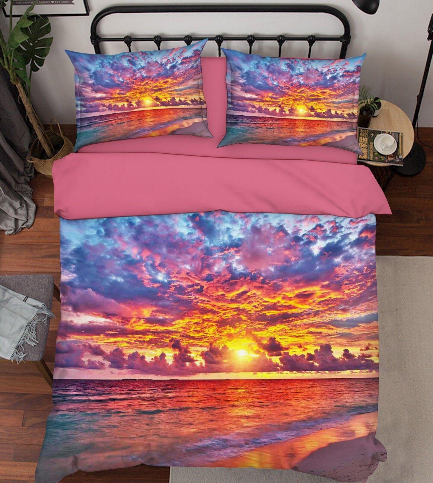 3D Sunrise Waves 56 Bed Pillowcases Quilt Duvet Cover Set Single King UK Lemon