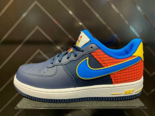 Nike Air Force 1 Low Nostalgia Navy Blue Red Yellow PS TD Kids Boys Girls 5C-3Y