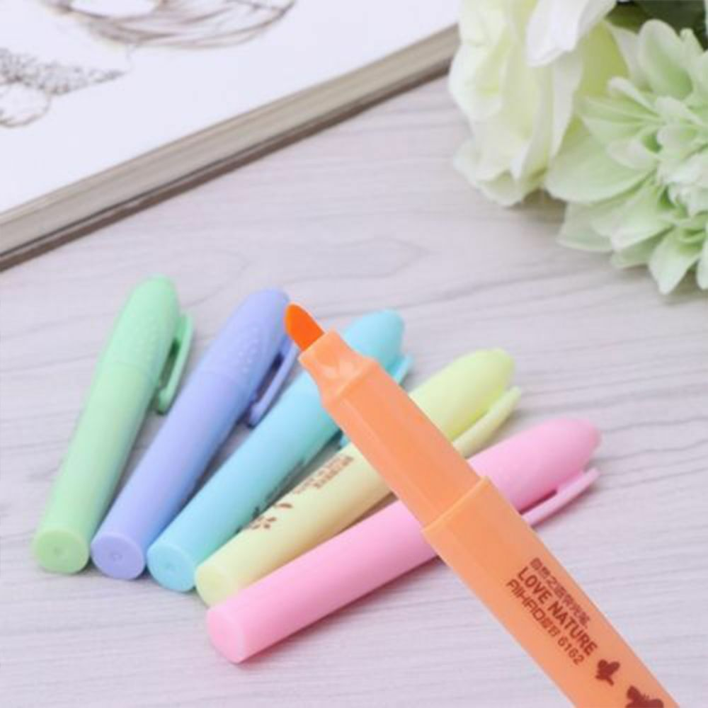 6 Colors Double-end Fluorescent Pen Highlighter Marker Pen Stationery School Kit