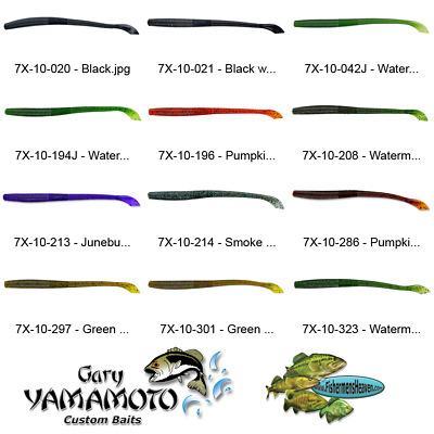 Yamamoto Worm 7X-10-323 Watermelon Gold Black Flake 6.5 Inch Kut Tail Soft Lures