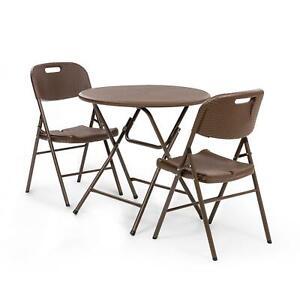Détails sur Salon de jardin 3 pieces table pliante exterieur terasse + 2 chaises cadre acier