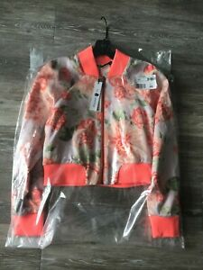 NWT-Alice-and-Olivia-Reversible-Duke-Raglan-Cropped-Coral-Bomber-Jacket-XS