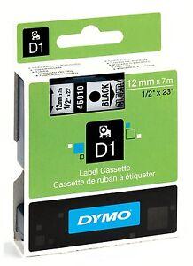 Dymo D1 45010 Black on Clear S0720500 12mm x 7M Label Cassette Original Genuine 5411313450607