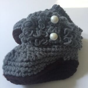 d37a0e08d New! Infant Booties Baby Shoes Slippers Knit Custom Made Gray