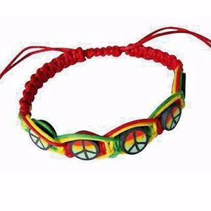 Image Is Loading Rasta Leather Wrist Bracelet Peace One Love Hippie