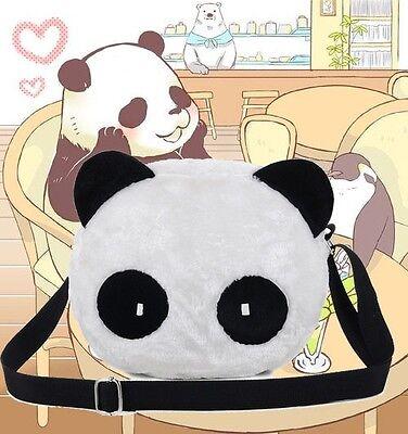 Cute Womens Panda Head Messenger Bag Cross Body Bag Kawaii Plush Shoulder Bag