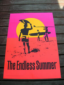 Vintage-endless-summer-surf-movie-poster-surfboard-1965-silk-screened-50-years