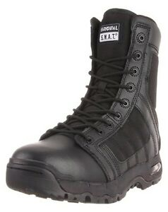 "New! Original Swat Men's Black Metro Air 9"" Side-Zip Leather Boot 1232-BLK-11.5"