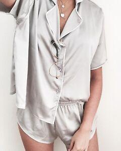 Womens-Satin-Silk-Pyjamas-Set-Sleepwear-Loungewear-Short-Sleeve-T-Shirt-Shorts