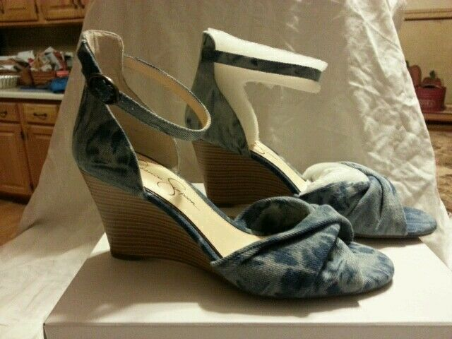 Jessica Simpson Pressa Sandal Blue Denim Woven Platform Wedge Flower Open Toe