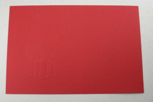 "NEW Bulk ~5x8/"" Red Reindeer Wreath Gold Snow Holiday Card 50 Flat Blank"