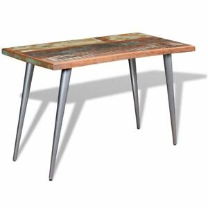 Detalles de vidaXL Mesa Comedor Pedestal 120x60x76 Madera Reciclada Mueble  Auxiliar Cocina