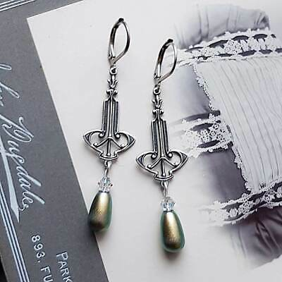Art Nouveau earrings silver Art Deco earrings purple crystal earrings long dangle clear crystal drop earrings Art Nouveau jewelry