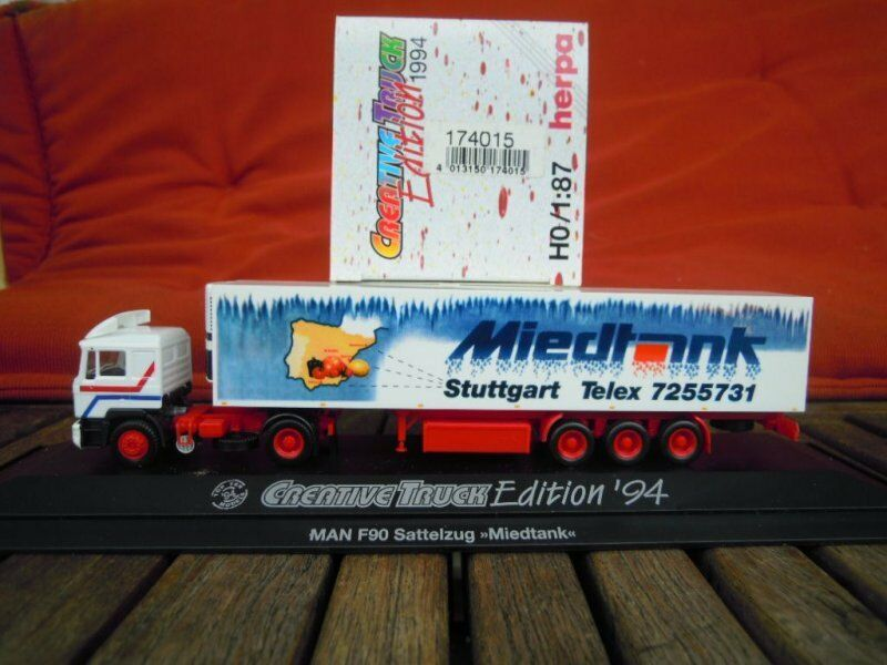 Herpa 174015 MAN F90 Lorry Miedtank Stuttgart in PC Box Boxed , 1 87, H0