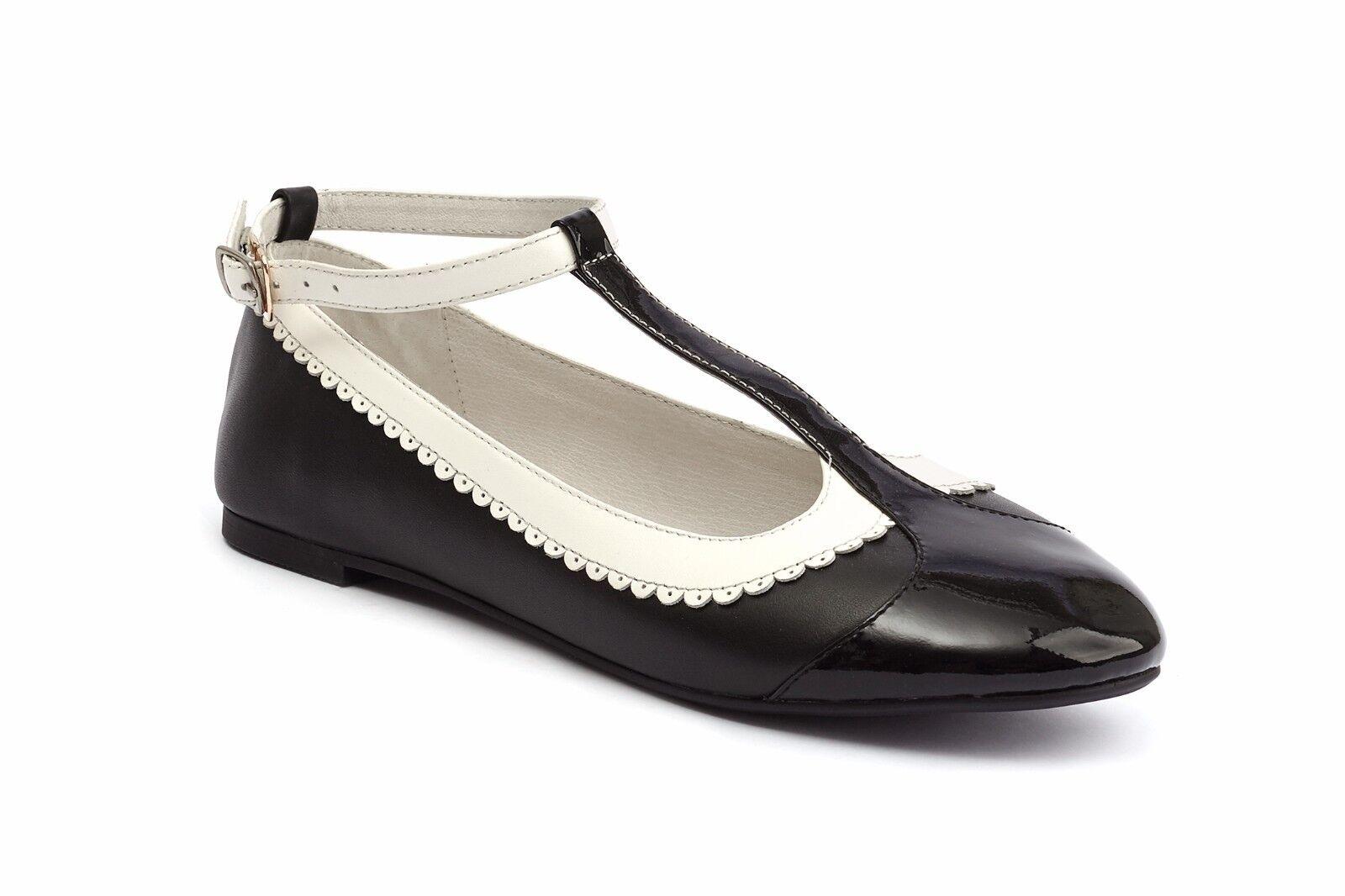 Lola Ramona Rinna Black & Cream Ballet Flat with T Bar Strap EU38 UK5